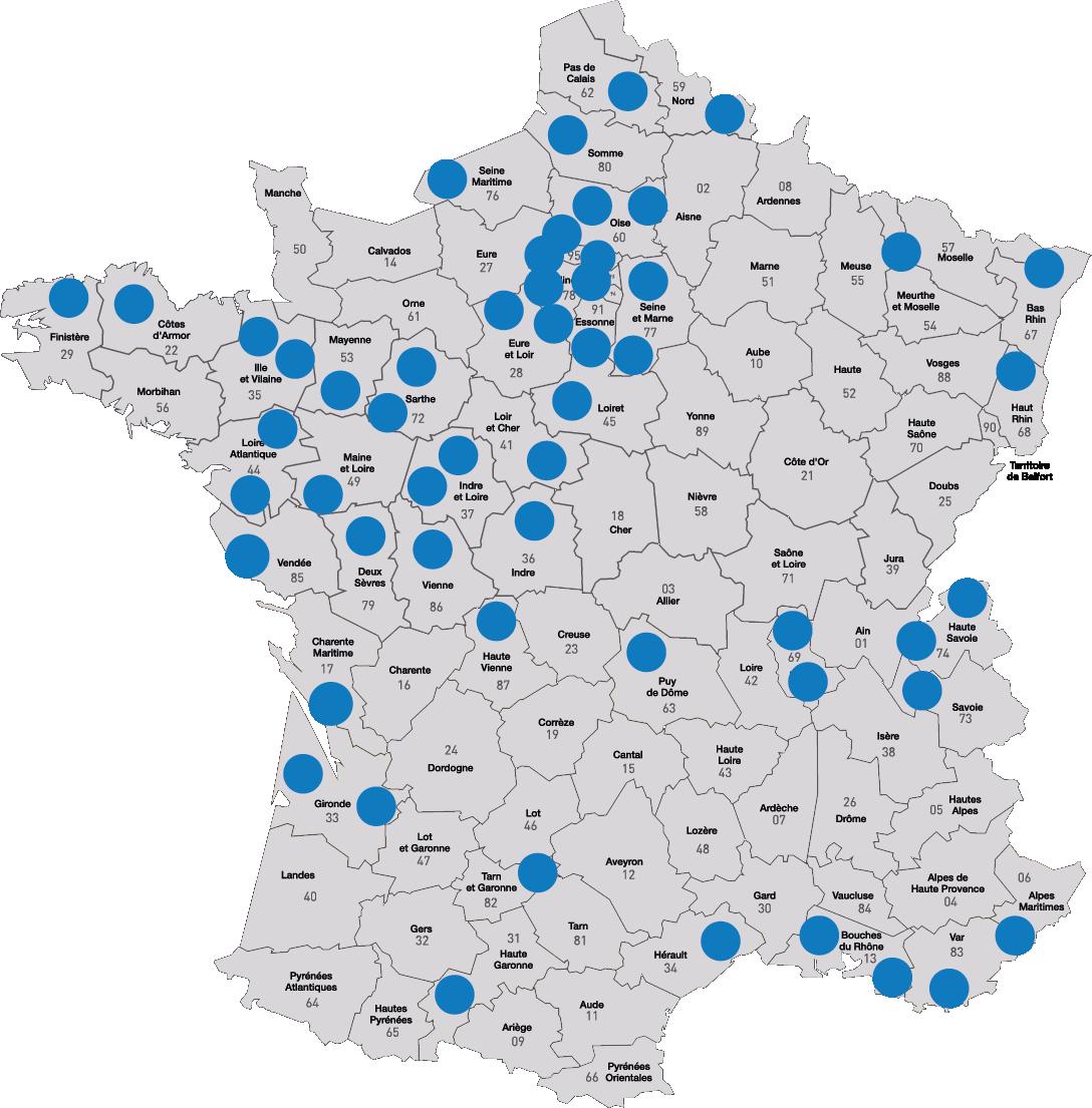 carte de france des agences